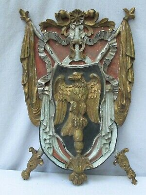 Antique Italian Carved Wood  and Polychromed Family Crest