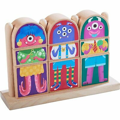 HABA Highlights Mix & Match Wooden Monster Blocks Pegging & Arranging Game