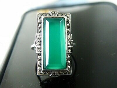 Antique Art Deco Sterling Silver Green Chrysoprase Marcasite Vintage Ring 7.5