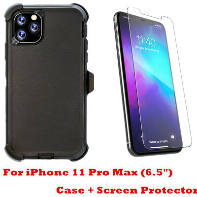 """For iPhone 11 Pro Max (6.5"""") Case W/Screen Belt Clip Fit Otterbox Defender Black"""