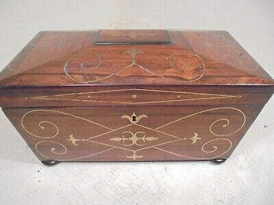 Over sized Antique Tea caddy Box , Brass inlay
