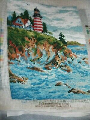 Vintage Needlepoint Canvas COMPLETE Light  House On the Cliff