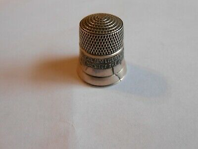 Vintage Simons Bros Sterling Thimble Liberty Bell 76 With Crack
