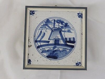 Old Tile Delft Tile Windmill Blue Painting - from Estate Motif 091