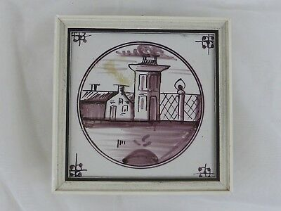 Old Tile Delft Tile Home Tower Manganese Painting - from Estate Motif 173