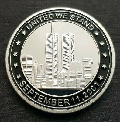 UNITED WE STAND Sept 11.2001 Challenge Coin FREE COIN STAND AND BRAND NEW FITTED