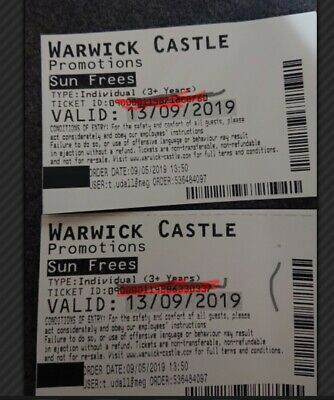 Warwick Castle Entrance Tickets x 2 for Friday 13th September.