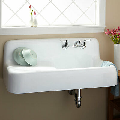 """Signature Hardware 42"""" Cast Iron Wall Mount Kitchen Sink With Drainboard"""