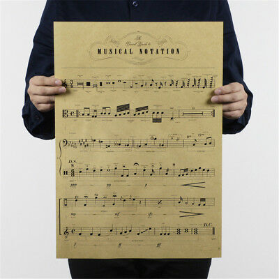musical notation kraft paper posters customer bedroom background wall sticke lf