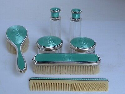Antique Guilloche Enamel and Sterling Silver 7 pc. Dresser Set