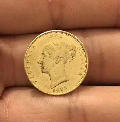 RESTRIKE 1/2 Sovereign Queen Victoria Young Head GOLD PLATED 1883 1880 1867 73
