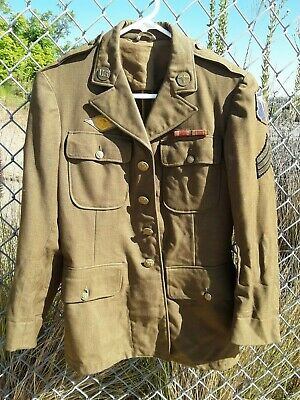 WW2 US Army 4th Air Force Sgt. Service Jacket w/ collar insig, ribbons, patches