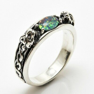Medieval LION Ring .925 Sterling SILVER sz 10 with Natural Opal Triplet gemstone