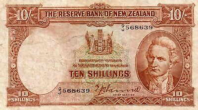 1940/1955 New Zealand T P HANNA NUMBER OVER  LETTER 10 Shilling Note F 9/J 56863