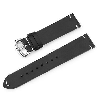 Vintage Cowhide Genuine Leather Watch Band Wristwatch Strap  Blet 18-24mm Black