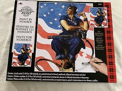 """Plaid Paint By Number Norman Rockwell Rosie The Riveter 16"""" x 20"""" NIB"""