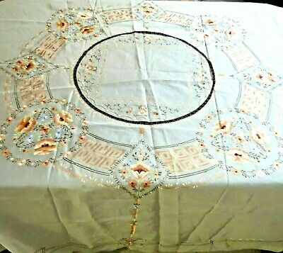 "Antique Chinese Silk Hand Embroidered Floral Tablecloth 90"" Round"