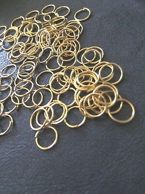 JUMP RINGS 10 mm Pack 100 - 1 mm Thick Gold plated FINDINGS CRAFTS  AUS STOCK