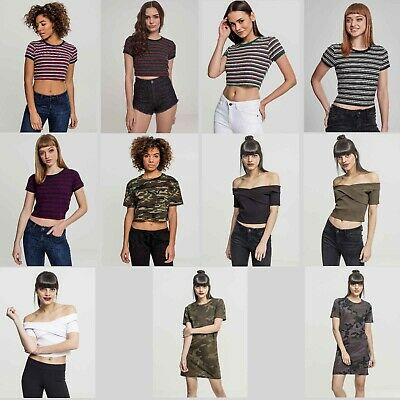 Urban Classics Damen T Shirt Ladies Rib Stripe Cropped Tee