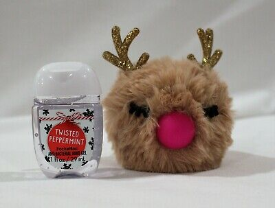 Bath & Body Works Pockebac Holder Light Up Reindeer + Hand Sanitizer Peppermint