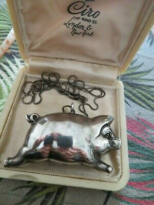 Wonderful antique hallmarked sterling silver hollow pig pendant necklace