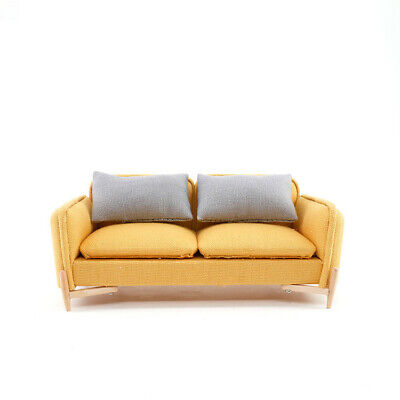 1/12 Dollhouse Miniature Living Room Furniture/Modern Yellow Cloth Double Sofa