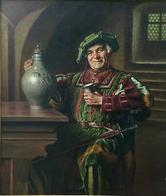 """""""Emil Kuhlmann-Reher (1886-1957)"""" Antique Oil Painting On Canvas """"Man In Tavern"""""""