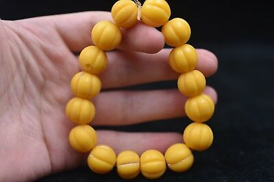 16 grain Chinese Hand carved Natural glass beads Bead Bracelets L82