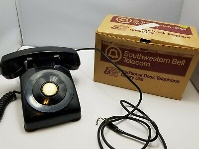 Vintage Southwestern Bell Systems Telephone BLACK Desk Phone With Box