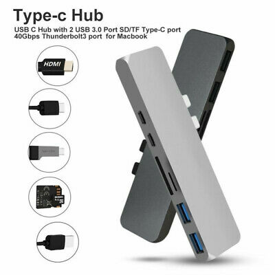 Brand New For MacBook Pro 7 in1 USB C Hub Type-C Card Reader Adapter Aluminum 4K