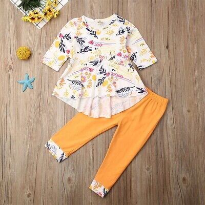 AU Toddler Kid Baby Girl Long Sleeve Top Pants Legging Autumn Outfits Clothes