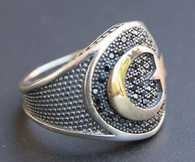 Solid 925 Sterling Silver AAA Mohammed Allah Arabic Designer Mens Ring Jewelry