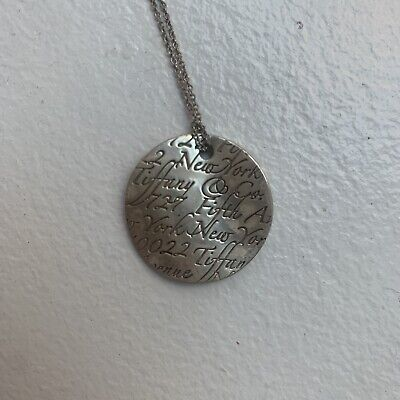 AUTHENTIC TIFFANY & CO NOTES WAVES ROUND PENDANT NECKLACE Retired