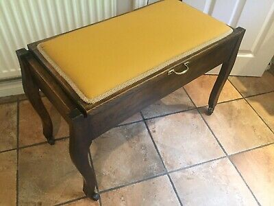 Stunning Reupholstered Antique / Vintage Wide Piano Stool In Mustard With Wheels