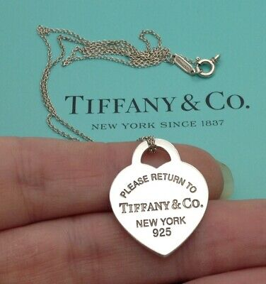 Tiffany & Co Sterling Silver Return To Tiffany Medium Heart Tag Pendant Necklace