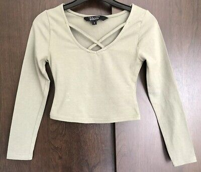 New Look Khaki Green Cropped Long Sleeved Top Age 9 Years