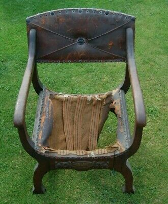 Antique Renaissance Style Chair for upholstery/restoration stamped NN
