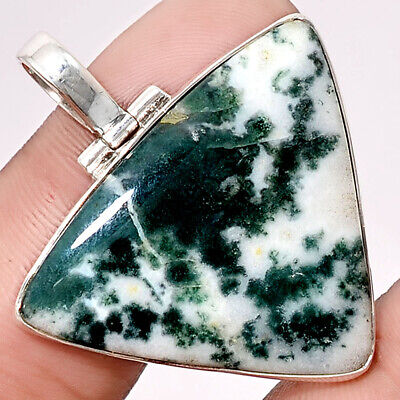 9g Rare Tree Weed Moss Agate 925 Sterling Silver Pendant Jewelry SDP40491