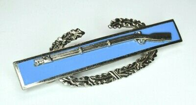 """RARE 3"""" Two Piece N.S. Meyer US ARMY COMBAT INFANTRY BADGE CIB Sterling Clutches"""