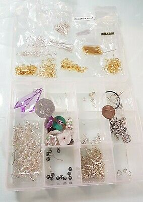 Small Storage Box With Various Jewellery Findings & Beads. 319g