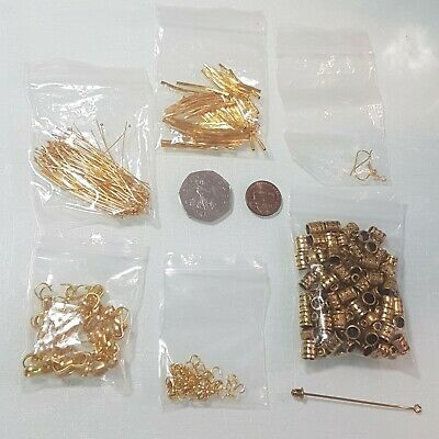 Gold Coloured Metal Beads & Jewellery Findings Set 7 Types.