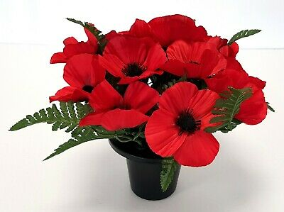 Artificial Poppy & Green Fern Grave / Memorial Pot -25cm Red Remembrance Flowers
