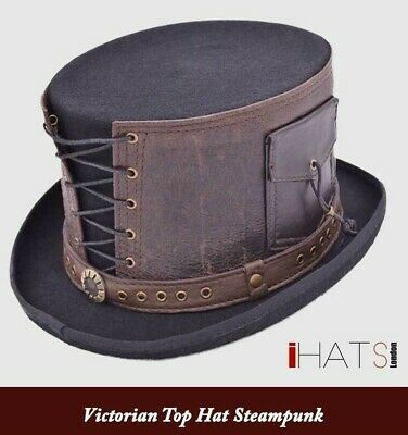 Steampunk Top Hat Victorian with Leather Strapped Goth Cosplay Antique-iHATS -UK