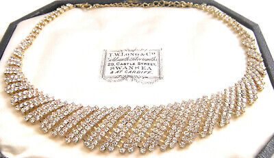 Stunning Elegant Red Carpet Art Deco Style Gold Rhinestone Collar Necklace
