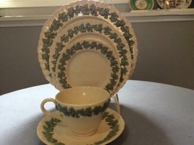 Wedgwood Embossed Queensware celadon on cream shell edge 5 piece place setting