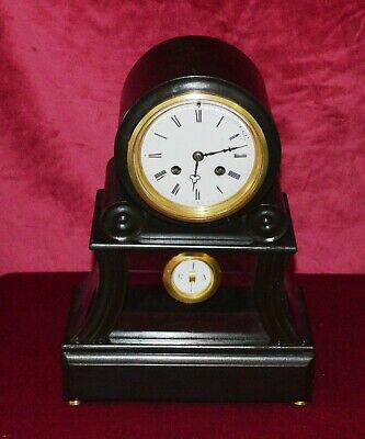 Antique Victorian Ebonised French Drumhead Chiming Mantle Clock Working