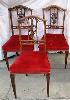 Antique Mahogany Edwardian Carved  Dining Chairs 3 of - For light restoration