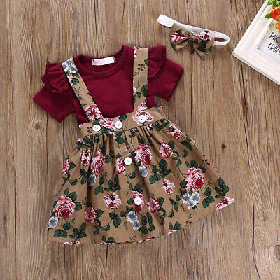 Baby Toddler Girls Kids Overalls Skirt +Headband+Romper 3Pcs Clothes Outfits US