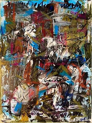 Original Abstract Painting Neo Dada Expressionist LW Jeffrey