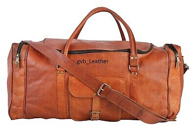 "22"" Vintage Men's Bag Leather Duffel Travel Luggage Air Cabin Weekend Overnight"